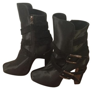 New Brian Atwood Enrika Satin Boots Black Boots