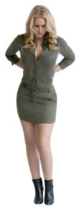 Etienne Marcel short dress GREEN Military Mini Sexy 3/4 Sleeve on Tradesy