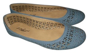 Lucky Brand Leather Laser Cut Eastly Blue Flats