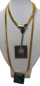 Vince Camuto New Vince Camuto Gold Tone Leather Reversible Pendant 34