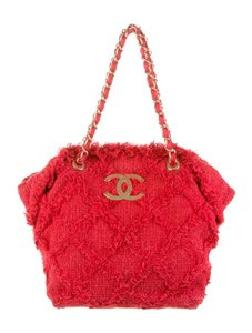 Chanel Tweed Rare Tote in Red
