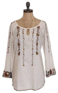 Lucky Brand Boho Bohemian Peasant Floral Embroidered Top BEIGE
