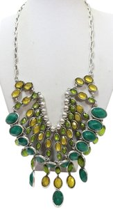 Lucky Brand New Lucky Brand Silver Tone Green & Yellow Bead Necklace $85