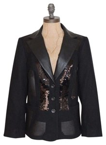 MONICA MAGNI Sequin Faux Leather Evening Night Out Luxury BLACK Blazer