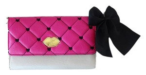 Betsey Johnson Luv Betsey wallet on a string fuchsia/bone envelope/cross body