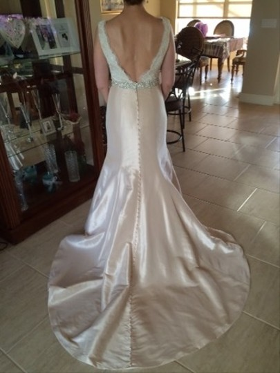 Allure Bridals Light Champagne/Ivory Lace and Organza Feminine Wedding Dress Size 6 (S)