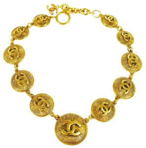 Chanel CHANEL Vintage RARE Paris CC Medallion Necklace Gold