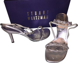 Stuart Weitzman Wedding Evening Metalic Leather Crystal Straps Silver Sandals