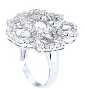 18K White Gold Camellia Diamonds Ring