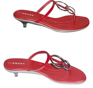 Prada Silver Tone Strappy Backless Red Sandals