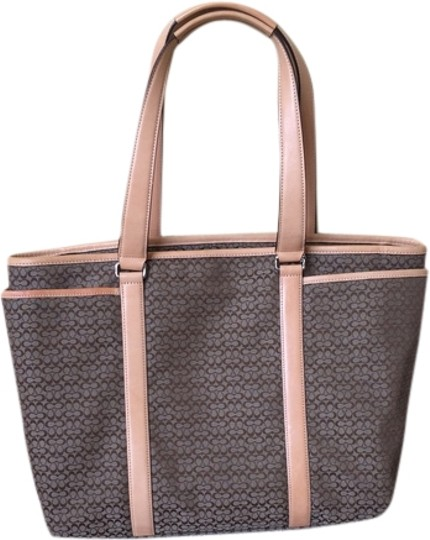 Preload https://item1.tradesy.com/images/coach-no-d0785-f77014-tan-canvas-and-leather-trim-tote-1955755-0-0.jpg?width=440&height=440