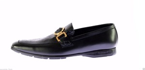 Versace New Versace Black Ostrich And Leather City Loafers Shoes