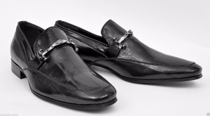 Versace New Versace Black Eel Leather Loafer Shoes