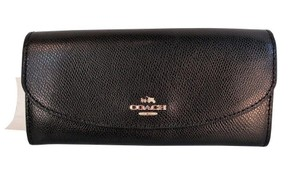 Coach Crossgrain Leather Slim Envelope Wallet Clutch Purse Black F54008 NWT