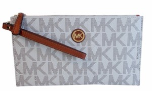 Michael Kors Fulton Zip Clutch Wristlet in Vanilla White