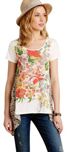 Anthropologie Floral Flowy Tee Little Yellow Button T Shirt