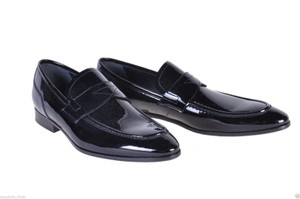Versace Black New Patent Leather Loafer Shoes