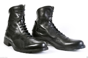 Versace Black New Jeans Couture Leather Biker Boots Shoes