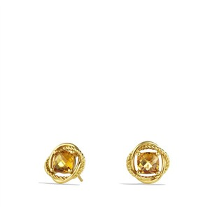 David Yurman David Yurman 18K Gold Infinity Earrings with Citrine