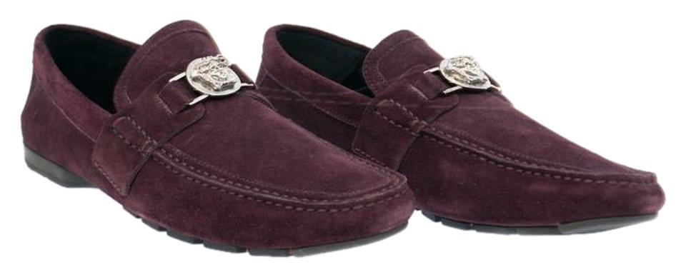 9ff6a5f587d1 Versace Burgundy New Suede Leather Driver Loafer For Men 42 - 9 Shoes Image  0 ...