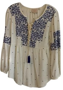 Anthropologie / Vanessa and Virginia Peasant Indian Top Ivory and insight blue