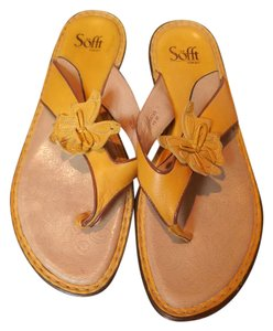 Söfft Leather Flip Flops Butterfly Yellow Sandals