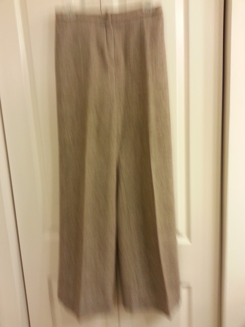 Jones New York Brown tweed pants suit with faux leather trim