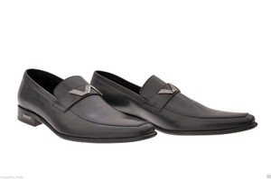 Versace New Versace Black Leather Shoes Loafers