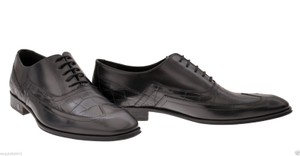 Versace Black New Crocodile Printed Leather Lace Up Shoes