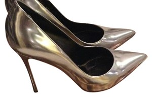 Sergio Rossi Intermix Heels Silver Leather Pumps
