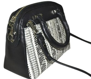 MILLY Watersnake Handbag Snakeskin Satchel in Black/White with Black Accent, Silver Hardware