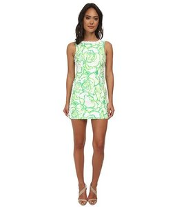 Lilly Pulitzer short dress Green Nwt Floral Sleeveless Shift Lace Trim on Tradesy