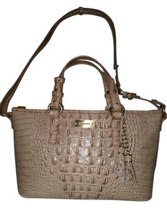 Brahmin Satchel Brown Croco Tassel Tote in Beige