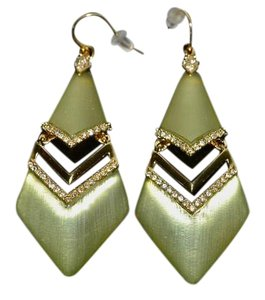Alexis Bittar Alexis Bittar Lucite Chevron Link Dangler Earrings Sage Goldtone