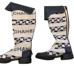Chanel Black, grey, cream Boots