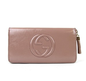 Gucci Patent Zip Around Clutch Wallet 308004 Power Pink Patent Leather 6812
