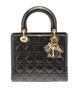 Dior Quilted Patent Leather Satchel in Black