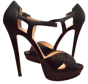 Christian Louboutin Platform Calfskin Stiletto Leather Black Sandals