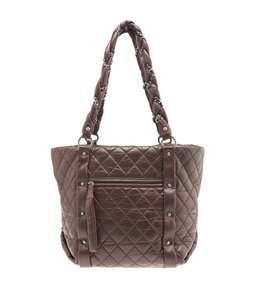 Chanel Quilted Studded Cc Tote in Brown