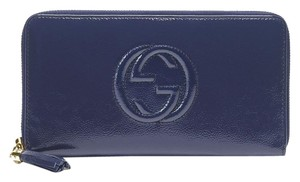Gucci Leather Zip Around Clutch Wallet Travel Large 291102 Blue 4233