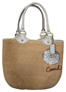 Coach Tote in Tan And White