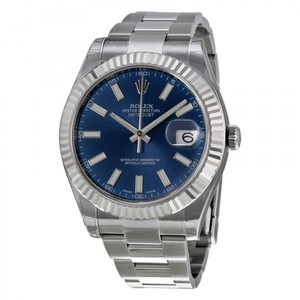 Rolex Datejust II Stainless Steel & White Gold Watch Blue Index Dial 116334
