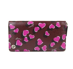 Gucci Heartbeat Print Leather Zip Around Clutch Wallet 309705 Burgundy5009