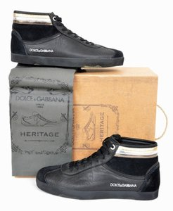 Dolce&Gabbana Black Dolce and Gabbana Heritage Leather Sneakers 9 Shoes