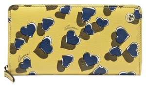 Gucci Heartbeat Print Leather Zip Around Clutch Wallet 309705 Yellow 7309