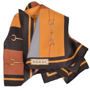Gucci Gucci Women's Brown Colorblock Motley Horsebit Belt Silk Neck Scarf