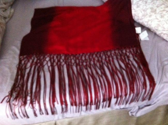 Item - Dark Red/Merlot Ombre Pashmina Wool and Silk Scarf/Wrap
