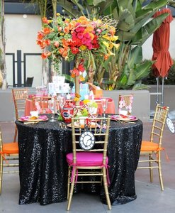 120' Round Black Sequin Tablecloth Bling Glam Sparkle Wedding Clearance