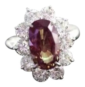 Other Alexandrite Stone Diamond 18K White Gold Cocktail Ring