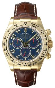 Rolex Cosmograph Daytona 18K Yellow Gold Arabic Dial Leather Strap 116518